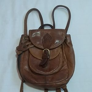 Vtg Hidesign Brown Leather Backpack Bag